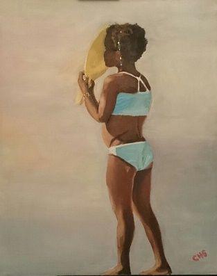 Negrita en la playa -  Oleo 40 x 50 Claudia Hermosilla 2016