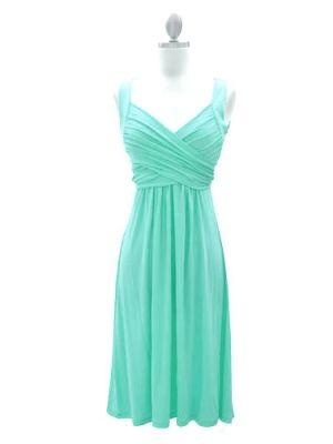 Exquisite Light Turqoise A-line V-neck Neckline Knee Length Bridesmaid Dress