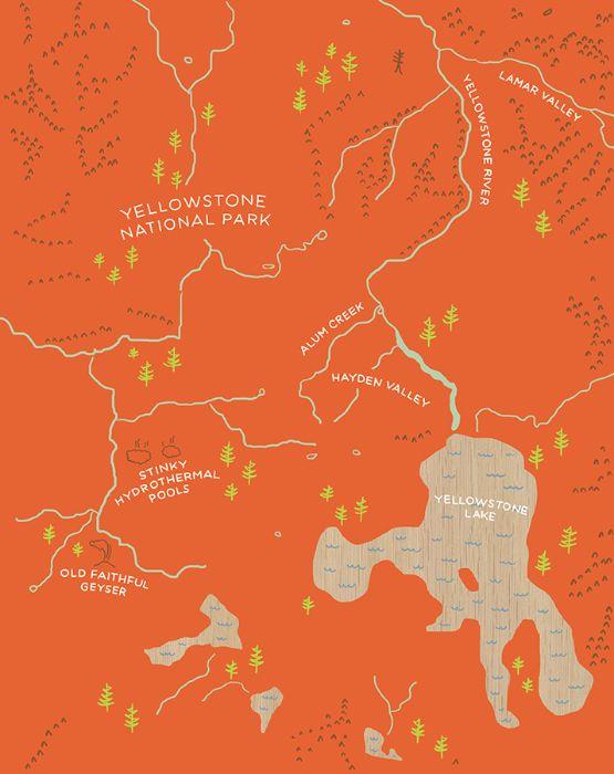 Amy Hevron map of Yellowstone National Park.