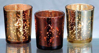 romantic gold + copper mercury glass votives