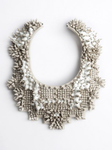 Bead encrusted necklace in soft neutrals; contemporary jewellery art // Heaven Tanudiredja