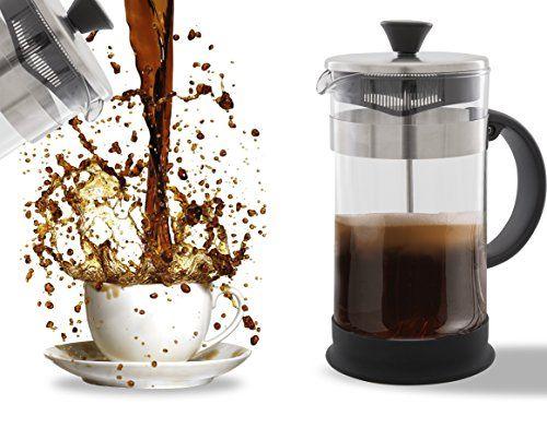 French Press Café, thé et machine à espresso–Nettoyage facile, système de filtre de qualité, en verre et acier inoxydable, résistant à la…