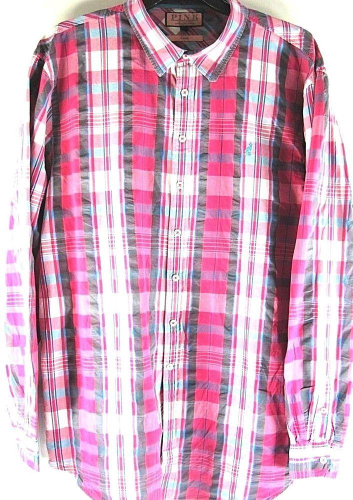 Thomas Pink Men Button Up Shirt Size 2XL Pink Gray Blue White 100% Cotton. DAD70 #ThomasPink #ButtonFront