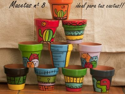 macetas de barro pintadas a mano feria virtual de artesanos argentinos