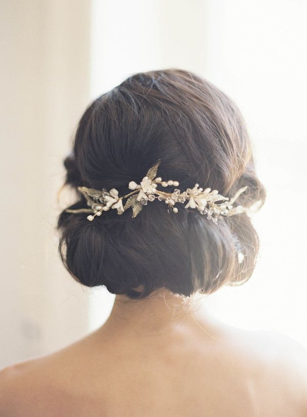 Elegant Updo with a Gold and Pearl Bridal Headpiece | Judy Pak Photography | Earthy and Elegant Rustic Wedding in Dusty Blue and Taupe - http://heyweddinglady.com/earthy-elegant-rustic-wedding-dusty-blue-taupe