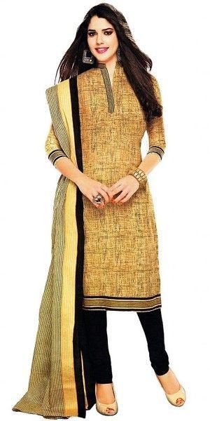 Exotic Cream Cotton Straight Suit With Dupatta.