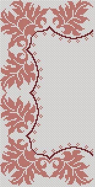 15 όμορφα σχέδια με αμπελόφυλλα , φύλλα φράουλας και άλλα φύλλα για σταυροβελονιά   Γωνιές και μπορντούρες για τραπεζομάντηλα , σεμέν ...