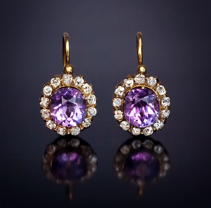 Antique Amethyst and Diamond Cluster Earrings
