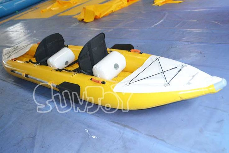 2 person inflatable kayak boat for sale, equipped with high-back chairs and oars.