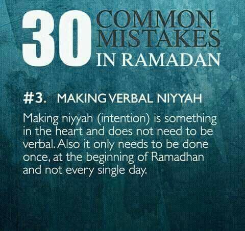 common mistakes in ramadanverbal niyyah