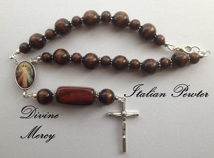 Wood Bead Chaplet, Divine Mercy Chaplet, Catholic Prayer Chaplet, One Decade Rosary, Car Mirror Chaplet by RosariestoCherish on Etsy