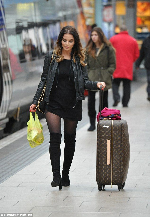 Helen Flanagan slips into sexy knee-high boots and leather jacket to travel in style