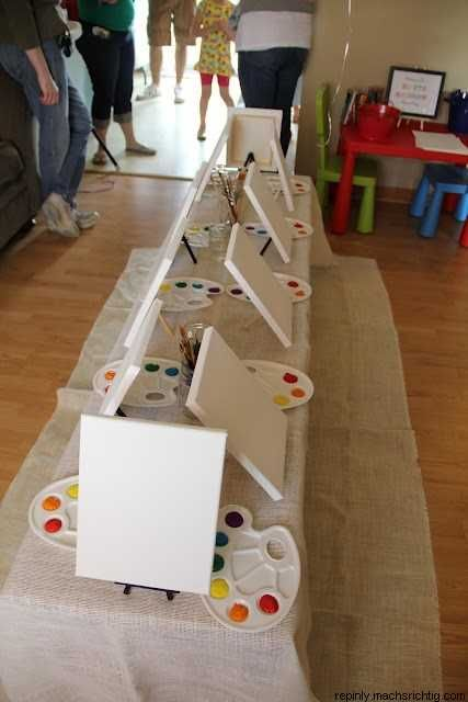Art party-great fun!  And don't forget the drop clothes under the table :)