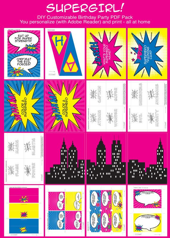 Girl Superhero Birthday Invitation Printable Party Collection EDITABLE Text PDF File