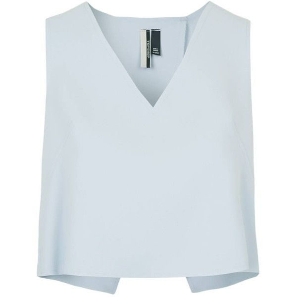 TopShop Button Detail Shell Top (€45) ❤ liked on Polyvore featuring tops, crop top, blue, topshop tops, boxy top, sleeveless tops and button tops