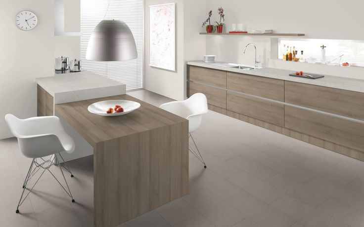 Egger F041 Sonara white 38mm benchtop combined with H1267 Molina sand cabinetry and 50mm kitchen hob