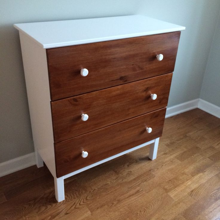 My Ikea hack (and very first DIY project ever!) I painted and stained Ikea's Tarva dresser into this!