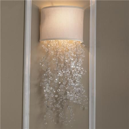 """Dripping Crystal Shade Sconce 2 colors!  A low-profile sconce that is simply elegant. Crystal beads waterfall out of a Black or Cream hardback shield that fits flush to your wall. Create your own personal look with the acrylic crystal strands that are designed to be cut to length. Really want to have fun? -Tie in your own beads for a truly personalize one-of-a kind-look. 40 watts. 40 watts. (candle base socket) (7""""H-25""""H adjustable x 9""""Wx6""""D)    Product SKU: SC11025 CM  Price:  $179.00"""