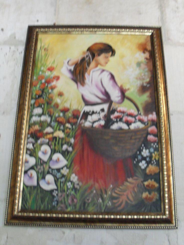 yağlıboya çiçek toplayan kız