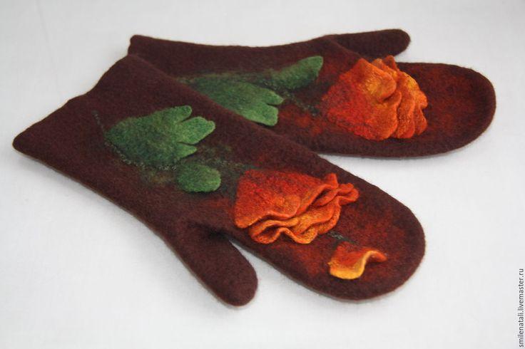 """Купить Варежки """"Георгины"""". - коричневый, цветочный, варежки, варежки ручной работы, варежки женские"""