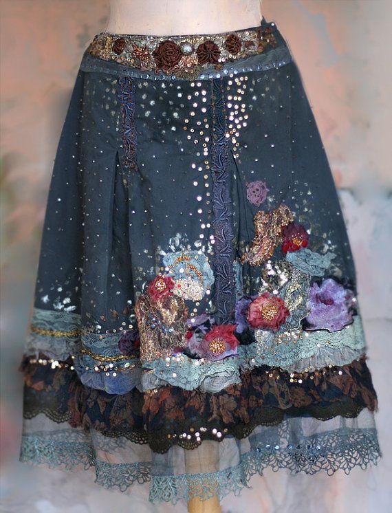 Night's starry sky embroidered bohemian romantic skirt by FleursBoheme