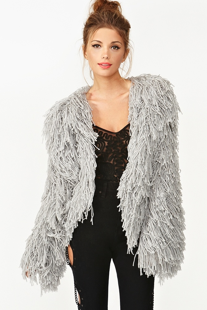 Love this- nice and different- definitely a statement piece!     Fuse Shag Jacket - Gray @ nasty gal