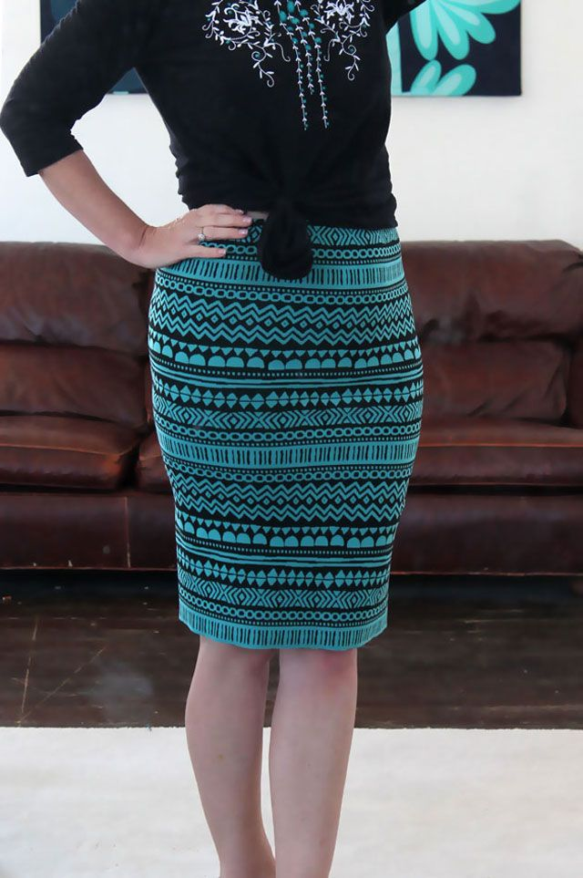 Create your own unique pencil skirt in under an hour using one yard of heavy knit fabric and some half inch elastic.