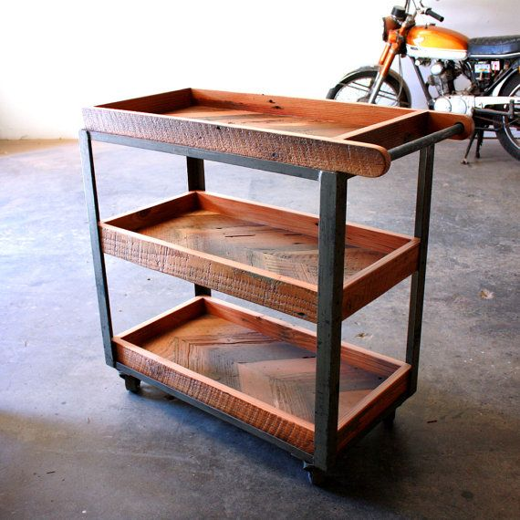 Industrial Bar Cart- Reclaimed Wood Serving Cart- Repurposed Vintage Dolly- Modern Loft Furniture- Rustic Barware- Chevron Wood Trolley