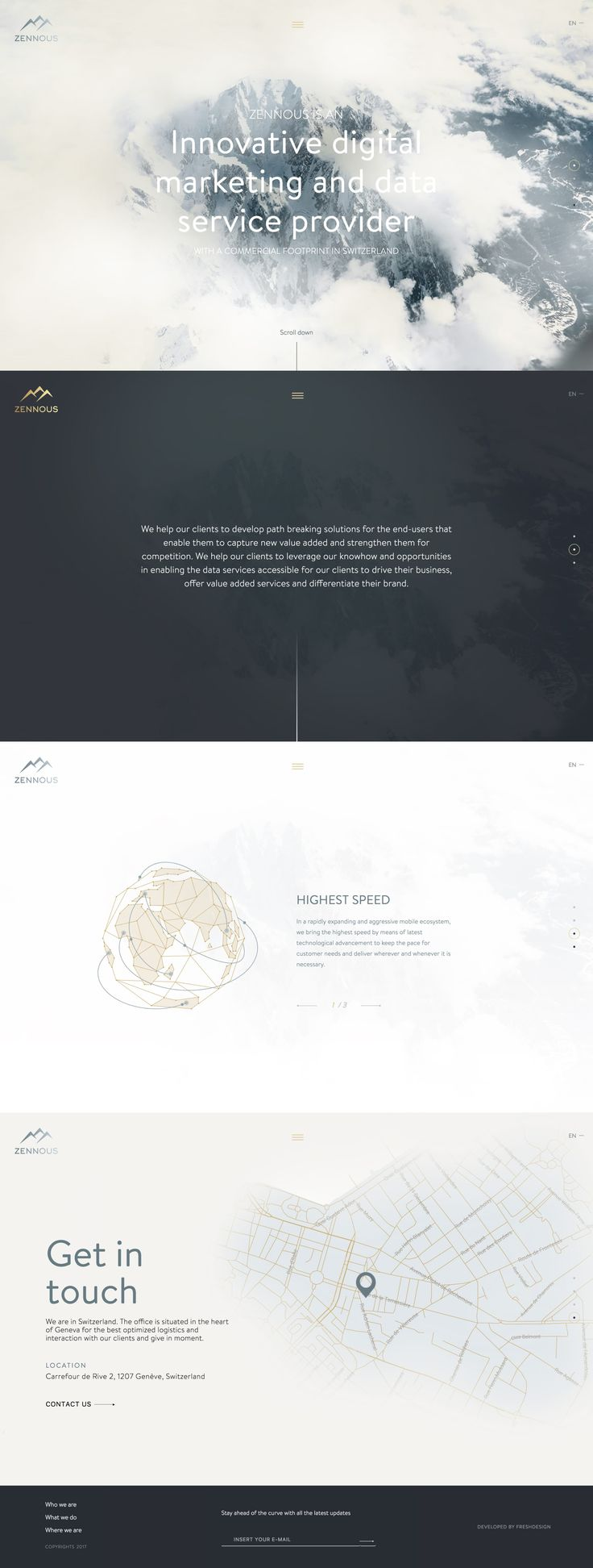 Long scrolling One Pager for Swiss marketing agency, Zennous Innovation. Neat moving cloud effect and nice touch with the full window map view if needed.