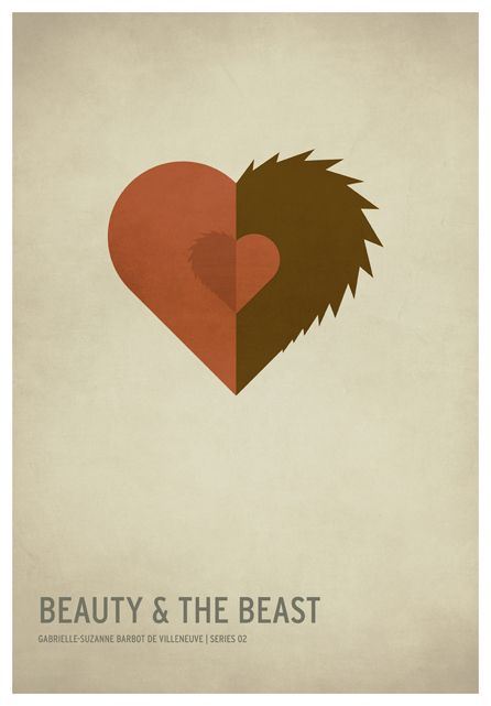 Beauty And The Beast   19 Minimalistic Posters Of Your Favorite Childhood Stories
