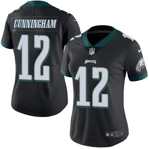nike eagles 12 randall cunningham black womens stitched nfl limited rush jersey