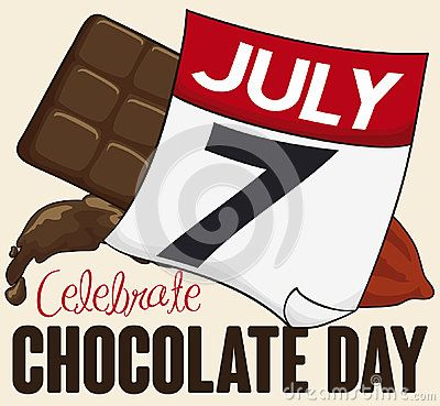 Poster with delicious chocolate bar, beverage, cocoa beans and loose-leaf calendar with reminder date for Chocolate Day in July 7.