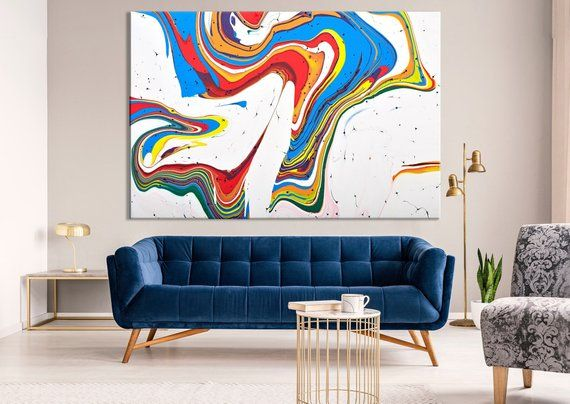 Abstract Wall Decor Contemporary Canvas Art Modern Painting Print Colorful Wall Art Rainbow Artwork Creative Painting Effect Art Exviver Contemporary Art Canvas Abstract Wall Decor Contemporary Canvas
