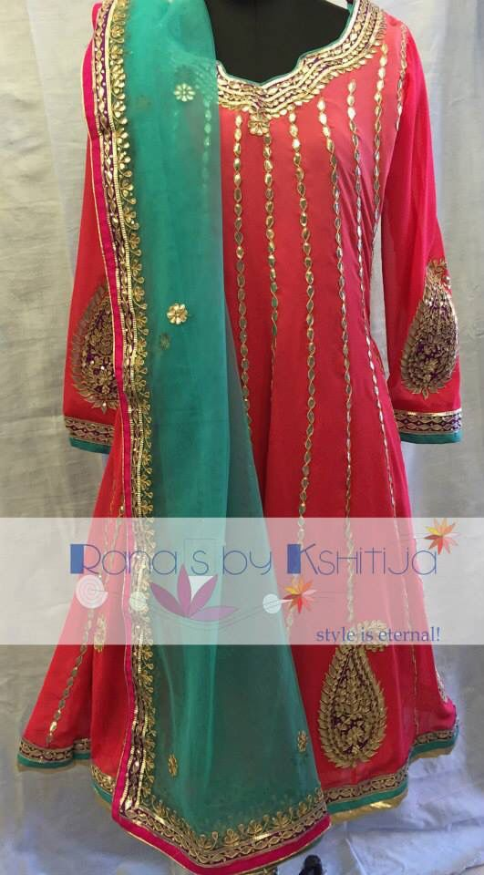 Beautiful kalidar with delicate gota work with fresh coral blue.