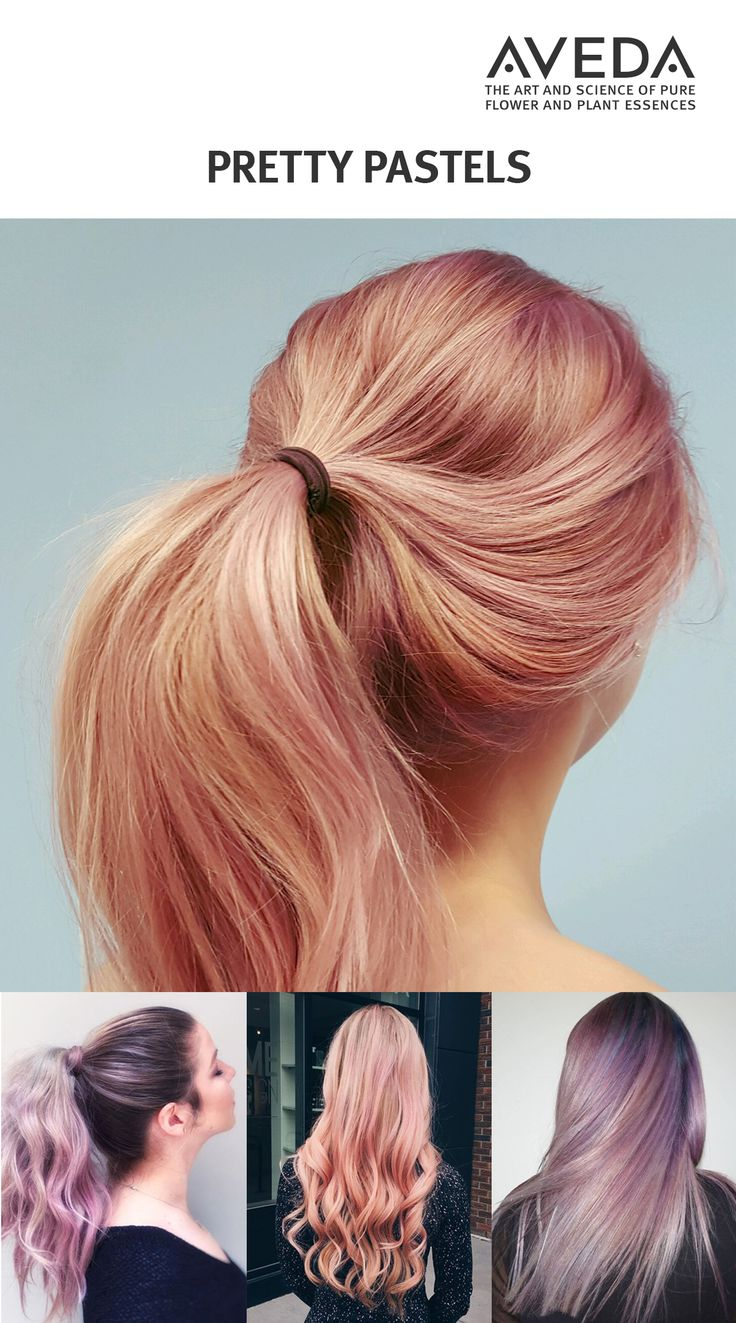 Try a dreamy, pretty pastel shade of pink, lavender, peach or purple with Aveda hair color. (Images courtesy @ianmichaelblack, @colour_bysamlee, @goddamneddavid, @jacquelinethehairgirl.)