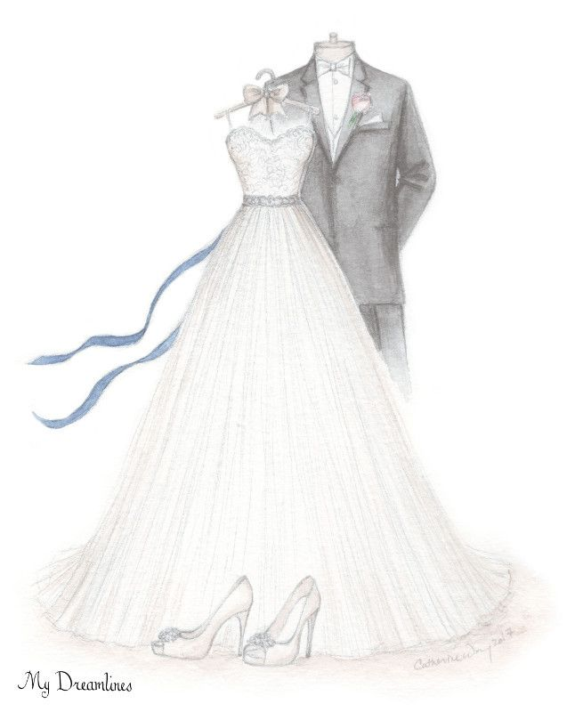 What is the best gift for her? Her wedding dress sketched and your suit. Perfect wedding day gift, anniversary gift or bridal shower gift. http://www.mydreamlines.com #giftforher #giftformybride #oneyearanniversrygift #giftfromgroom