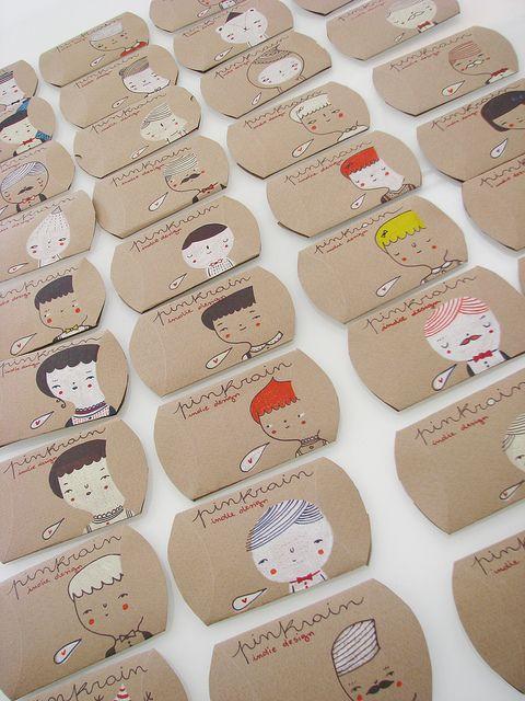 hand drawn cardboard pillow boxes from Mafa+ via imaginative bloom. PD