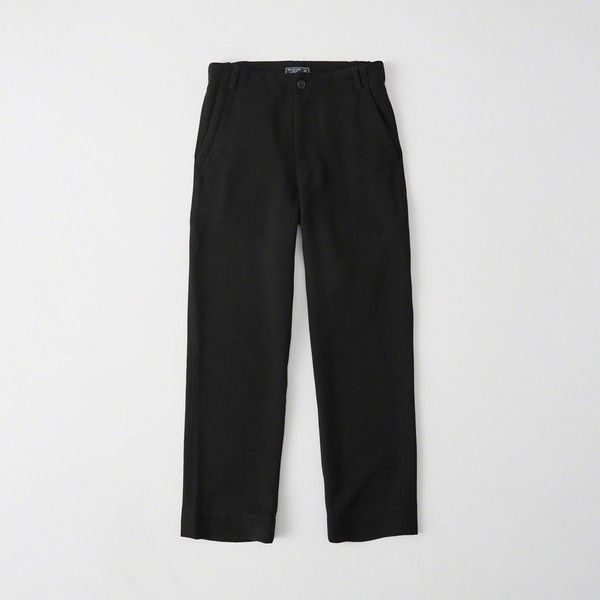 Abercrombie & Fitch High-Rise Drapey Cropped Pant ($58) ❤ liked on Polyvore featuring pants, capris, black, high rise pants, cropped capri pants, pocket pants, zipper pants and high waisted cropped trousers