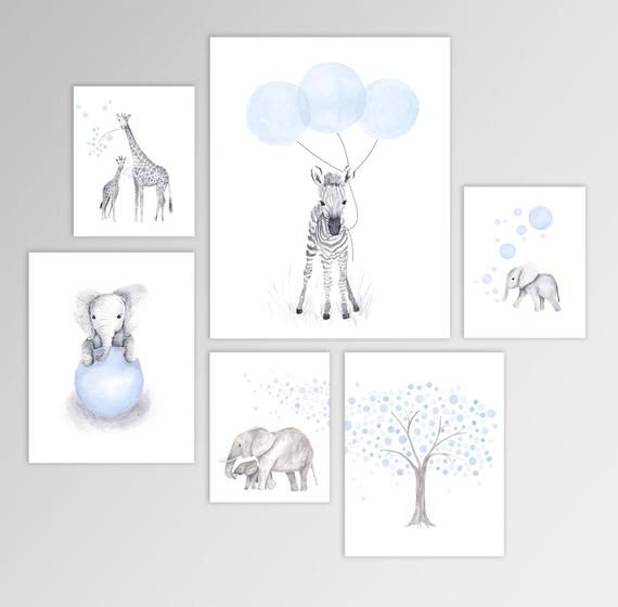 Baby Boy Nursery Art Watercolor Animal Prints Set Of Six