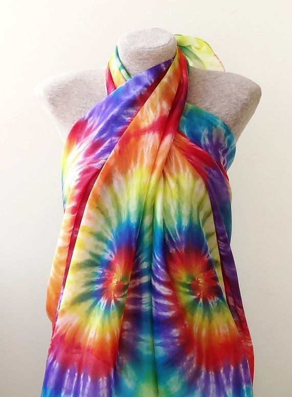FREE SHIPPING Extra large tie-dye silk pareo hip scarf by Monteboo