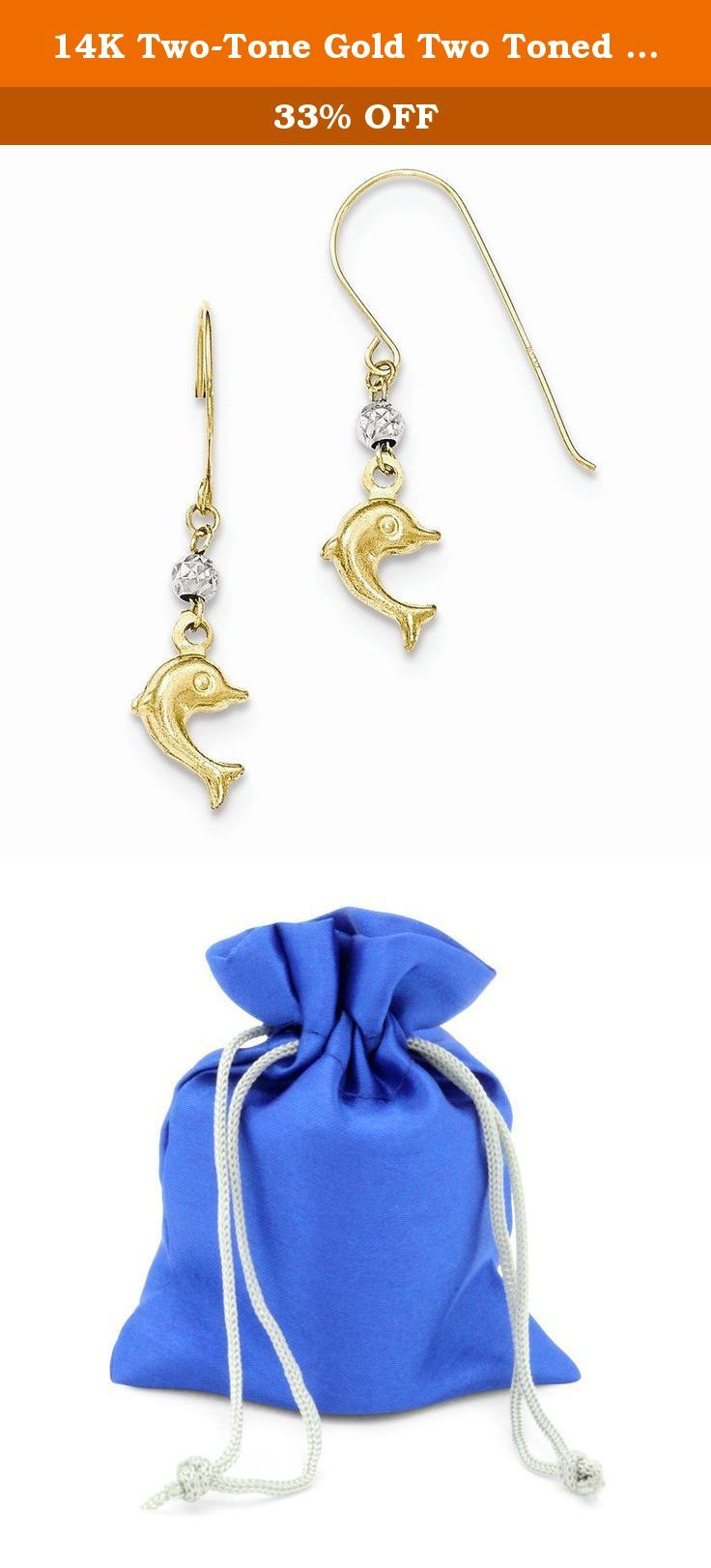 14K Two-Tone Gold Two Toned Puffed Dolphin Shepard Hook Earrings. 14k two-tone gold earrings. Made in Indonesia.