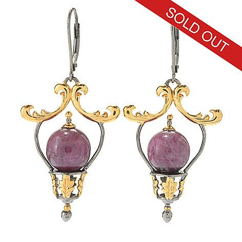 """144-125 - Gems en Vogue 2"""" 10mm Round Ruby Bead & Accented Frame Dangle Earrings"""
