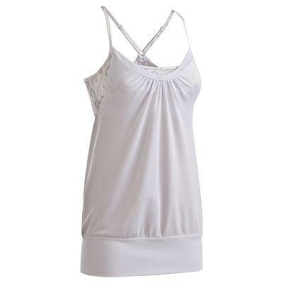 Canotte Fitness, Ginnastica, Danza - Canotta con top integrato fitness donna bianca DOMYOS - Abbigliamento palestra WHITE