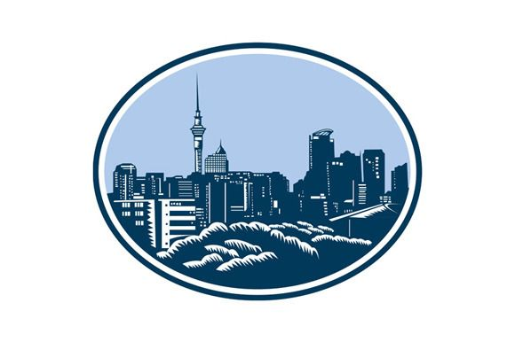 Auckland City Skyline Woodcut Retro by patrimonio on Creative Market