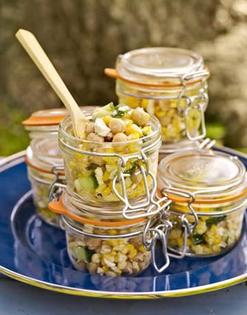 Glass canning jars as individual to-go containers. Perfect for a picnic.