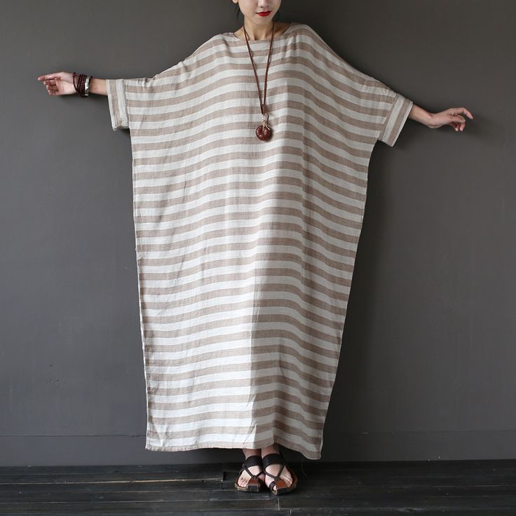 Striped Half Sleeve Loose Linen Robe Washed Long Maxi Dress   #Striped #HalfSleeve #Loose #LinenRobe #Washed #maxidress #linen #linendress