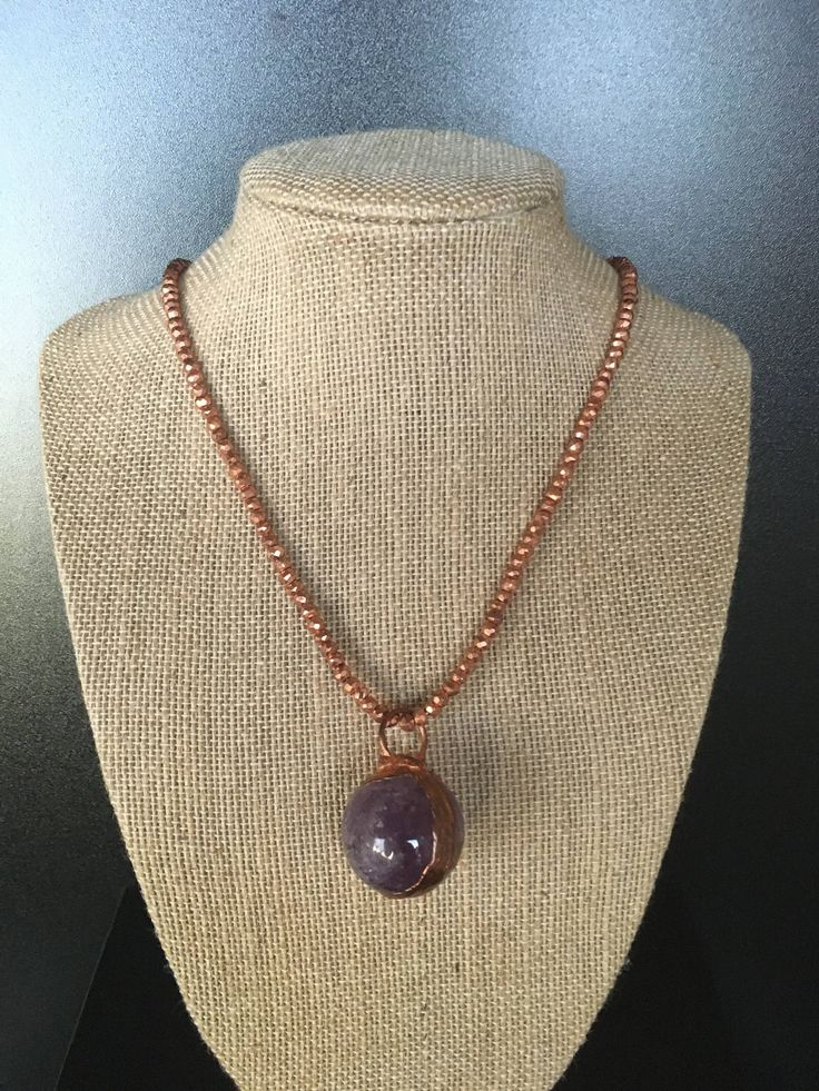 Natural Amethyst quartz crystal pendant from Brazil, copper plated with a copper pyrite  necklace and a sterling silver Bali clasp. by JagGirnFashionEnergy on Etsy