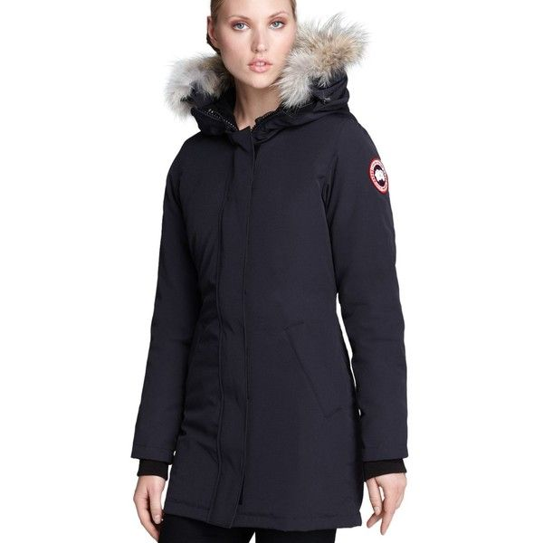 Canada Goose Victoria Parka ($850) ❤ liked on Polyvore featuring outerwear, coats, navy, navy parka, canada goose, blue parka, navy blue parka and navy blue coats