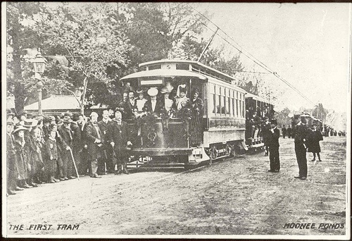 First Tram Moonee Ponds by mvlslibrary, via Flickr