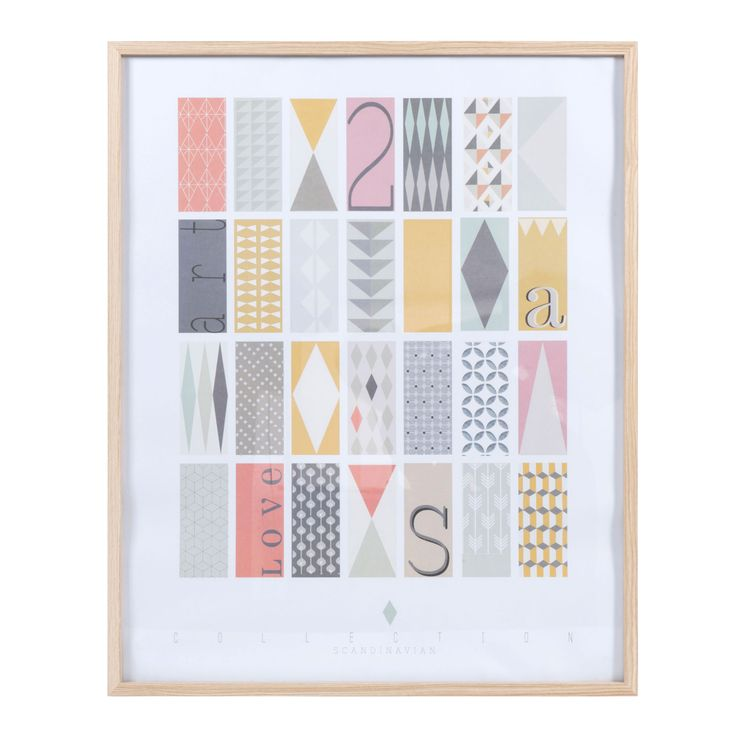 Tableau en bois multicolore 60 x 75 cm collection for Tableau salon scandinave
